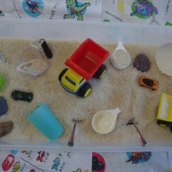"Indoor ""Sandpit"" – sensory play with rice"