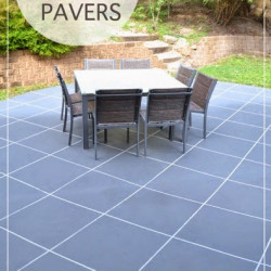 Backyard Makeover! How to paint concrete to look like oversize pavers