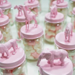 Pink circus-themed birthday party favours