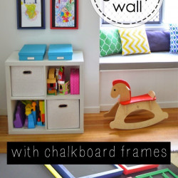 Kids art gallery wall with chalkboard frames