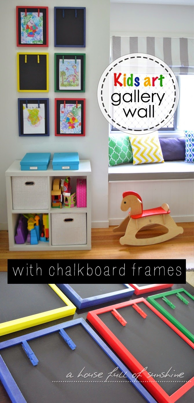 10 Types Of Toy Organizers For Kids Bedrooms And Playrooms: Kids Art Gallery Wall With Chalkboard Frames