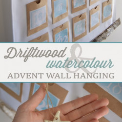 Driftwood & watercolour advent wall hanging