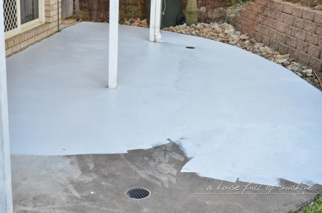 Backyard Makeover How To Paint Concrete To Look Like Oversize Pavers A House Full Of Sunshine