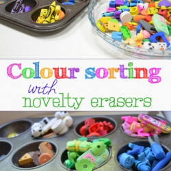 Colour sorting with novelty erasers