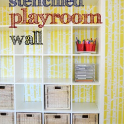Stencilled playroom wall!