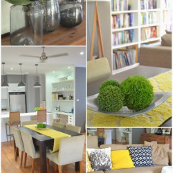 Our grey and yellow living room
