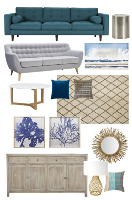A modern coastal mood board
