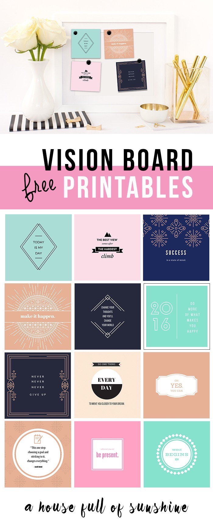 FREE 2017 Vision Board printables A House Full of Sunshine