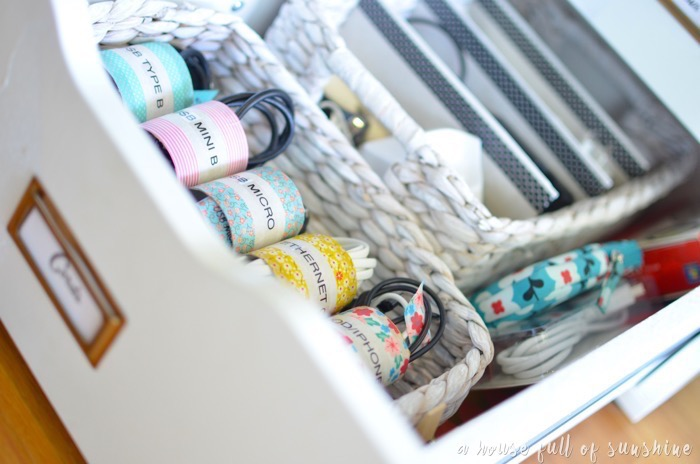 Cord organisation with washi tape