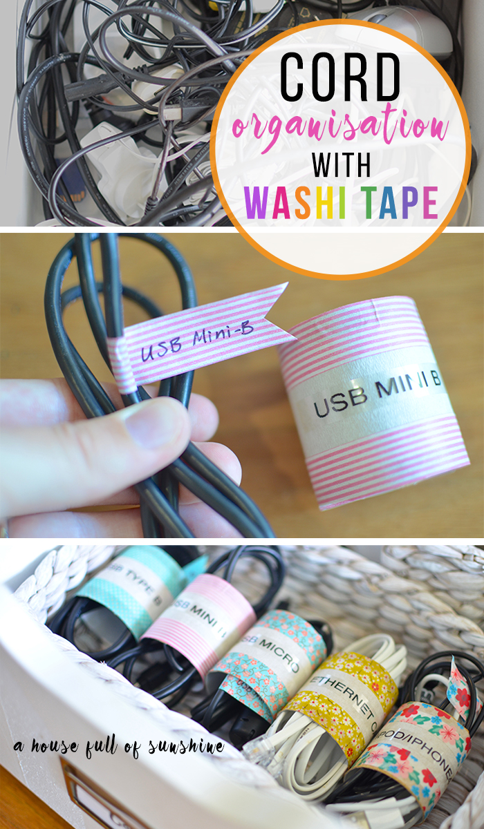 Washi tape cord organisation pin