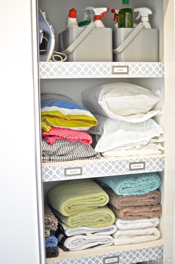 Linen cupboard organisation