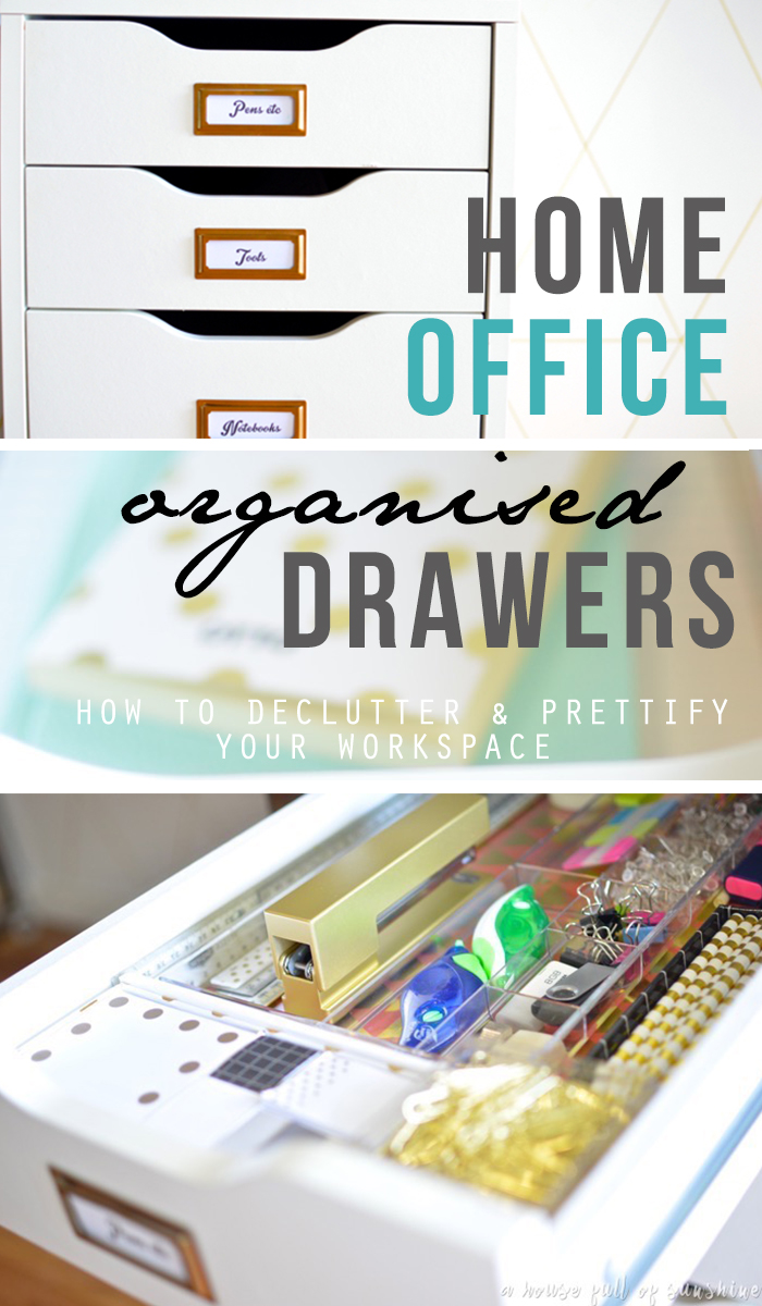 How to declutter and prettify those messy desk drawers in your home office space. Great before and after pics, and a complete checklist of items to purge! This is going to feel so good!