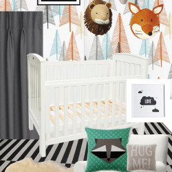 Pine tree nursery mood board