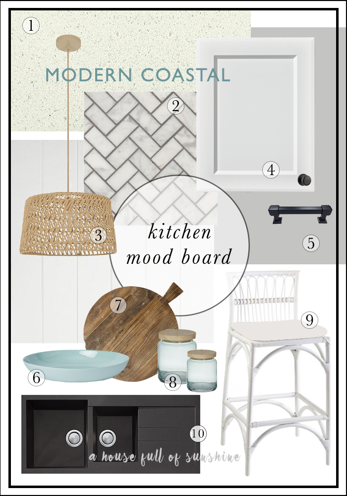 Modern coastal kitchen mood board