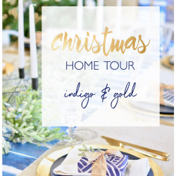 Christmas home tour in Indigo and Gold