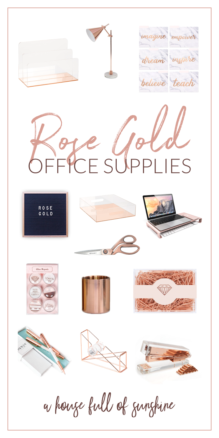 Rose Gold Office Supplies A House