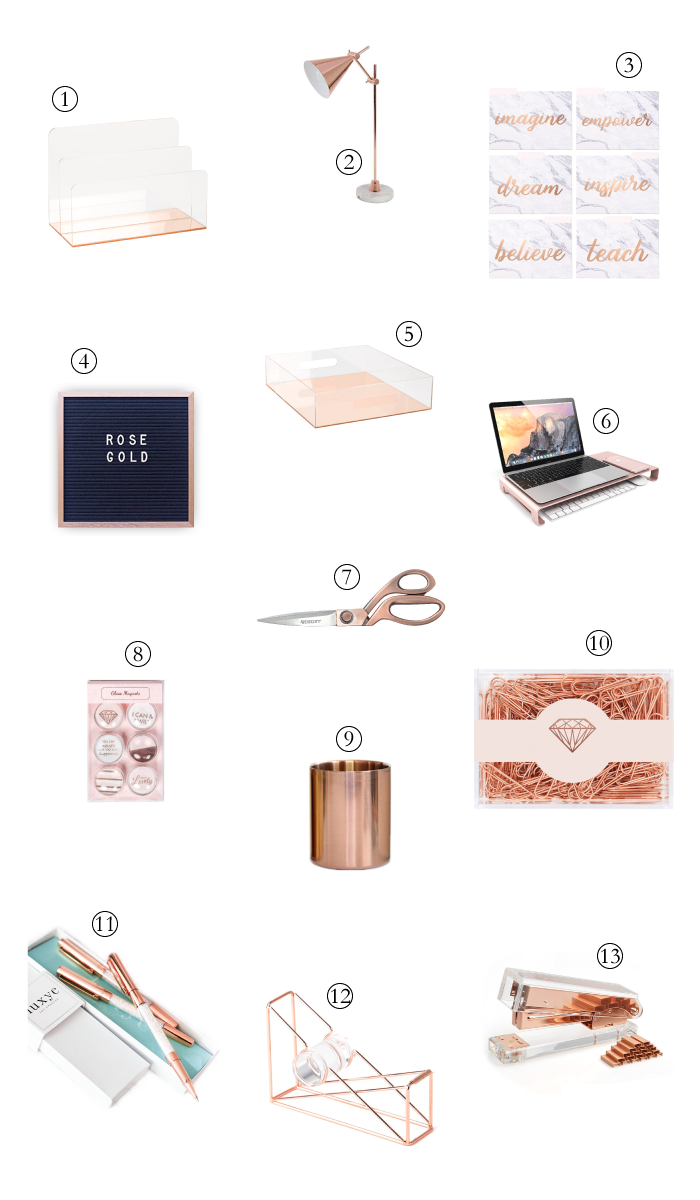 Rose Gold Office Supplies