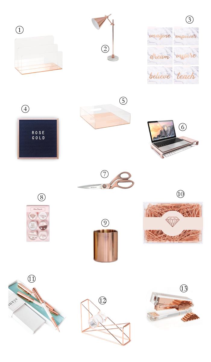 Rose Gold Office Supplies