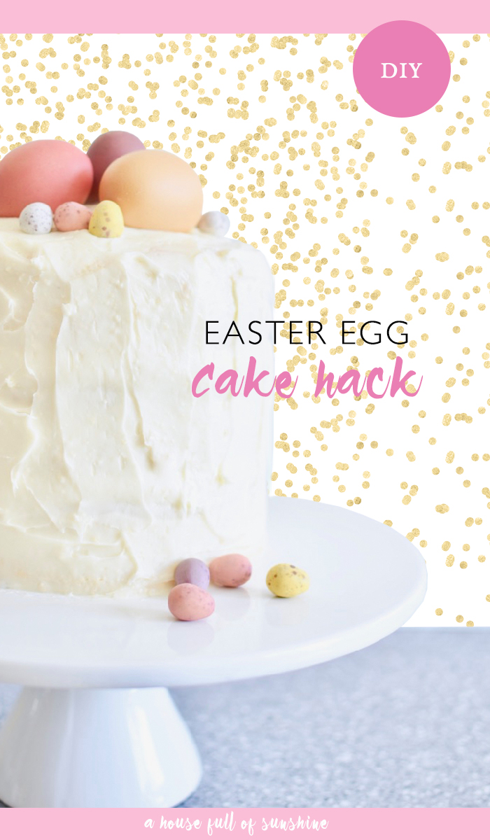 I do love me a good easy cake hack. The pretty pastel colours of Cadbury mini Easter eggs inspired this cheat's Easter egg cake. It's so simple to make! #Easter #Egg #Cake #Hack #DIY