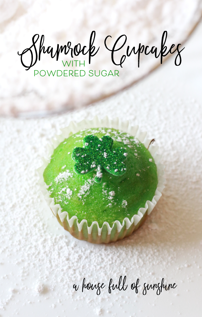 Need a festive St. Patrick's Day treat and a fun activity? These Powdered Sugar Shamrock Cupcakes are easy to make with these simple kid-friendly instructions. Click this image to see how to make them! #StPatricksDay #Shamrock #cupcakes