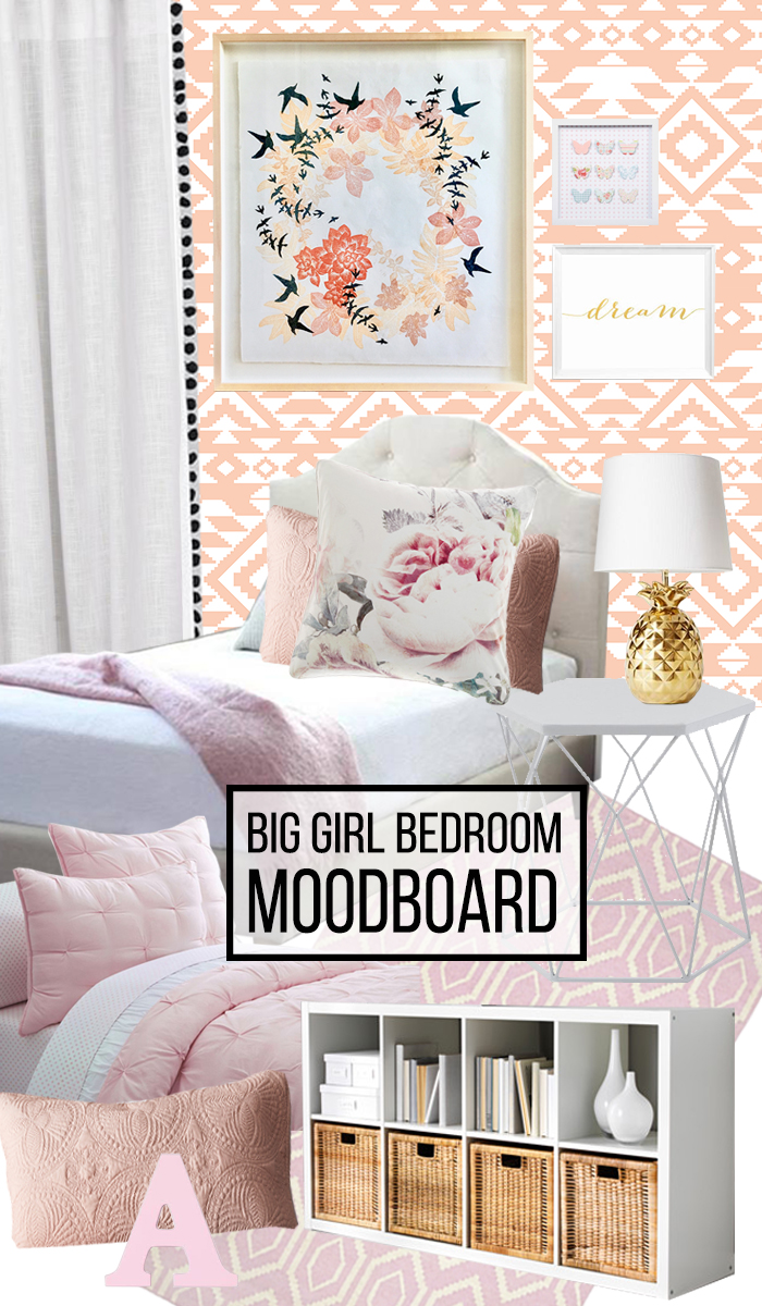 This big girl bedroom mood board features a gorgeous pink and coral palette, with just the right mix of pattern, florals and texture to really sing.