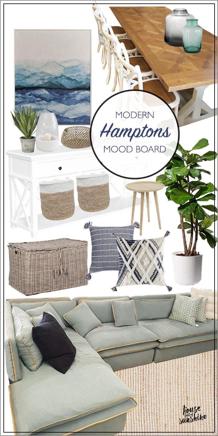 If you can't live at the beach, decorate like you do! This living & dining room mood board will inspire with its blend of modern Hamptons style + relaxed coastal living.