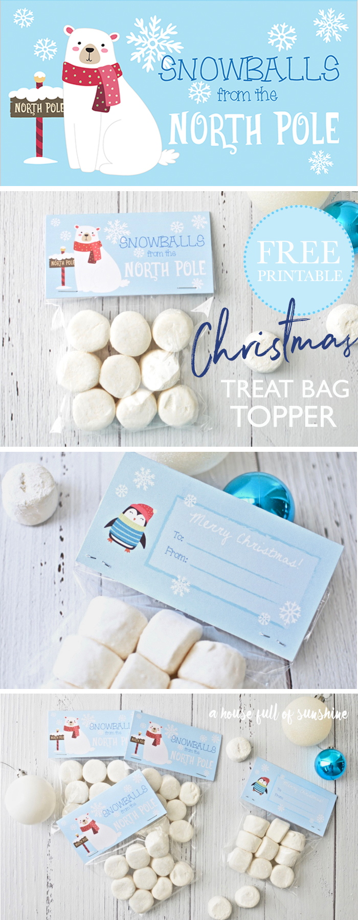 These Christmas treat bag toppers make a super cute novelty gift for the kids' school friends! Just fill a bag with white marshmallows and attach the FREE printable. Snowballs from Santa's place are the best gift EVER! 