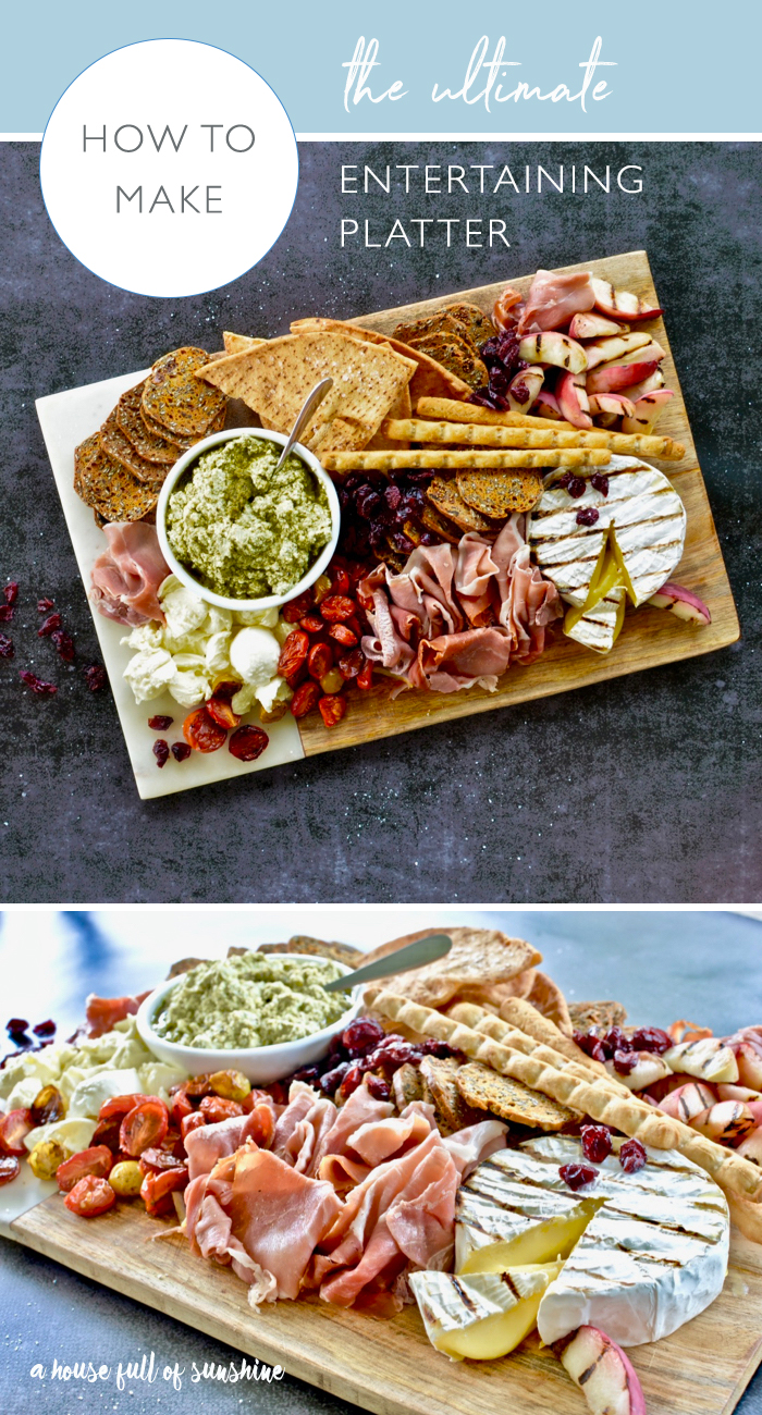 This entertaining platter is a flavour explosion! With grilled Brie, grilled peaches, roasted balsamic tomatoes, torn bocconcini and a ricotta & pesto dip, it will take your cheese platter game to a whole new level! Click through for the printable recipe!